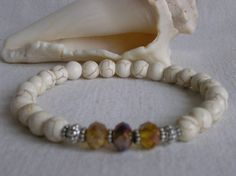 White Howlite Stone Stretch Bracelet by CloudsOfFantasy on Etsy, $18.00