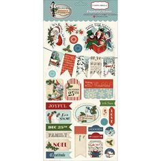 Christmas Wonderland Chipboard Stickers Carta Bella Carolers Santa Snowman Snowflakes Holly December Bunting Mistletoe Tags Labels Elves by InkyHotMess on Etsy