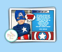 Captain America Thank You Cards Custom Printable Digital File Birthday Party Gift Boys Super Hero Superhero Coordinating Matching invitation.