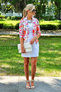 Stylish floral blazer over Kate Spade white dress