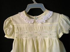 Smocking with Pink Roses Embroidery