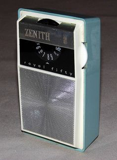 Vintage Zenith Royal 50 Transistor Radio, Made in the U.S.A., Circa 1962.