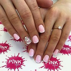 Beautiful French nails, Fashion french, French manicure, Gentle french nails, Luxury nails, Nails trends 2017, Nails with rhinestones, New Year nails 2017