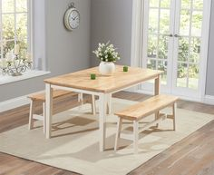 Buy the Chiltern 150cm Oak and Cream Dining Set with Benches at Oak Furniture Superstore