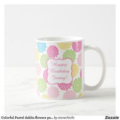 Colorful Pastel dahlia flowers personalized