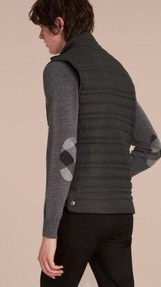 Dark grey melange Down-filled Wool Flannel Gilet 3 Man Shop 1af84ed2bb