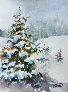 "Daily Paintworks - ""Snow Laden"" - Original Fine Art for Sale - © Sue Dion Winter Watercolor, Watercolor Art, Watercolor Trees, Painting Snow, Watercolor Flowers, Winter Landscape Painting, Winter Painting, Watercolor Landscape Paintings, Winter Art"