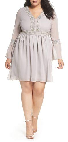 Plus Size Embellished Chiffon A-Line Dress