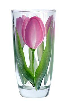 Deep pink and cream tulips with white highlights and deep green flowing leaves hand-painted encircling a quality ounce tumbler glass. Painted Glass Vases, Painted Wine Bottles, Vase Crafts, Bottle Crafts, Glass Painting Designs, Hand Painted Wine Glasses, Bottle Painting, Painting On Glass Jars, White Highlights