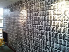 black and white photo wall - copy paper and wallpaper paste