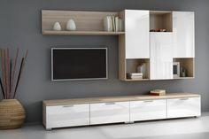 Mueble de salón – comedor SUPPER ZENITH en color Roble con efecto aserrado y blanco brillo al MEJOR PRECIO