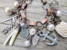 Nautical Charm Bracelet Beach Jewelry by daniellerosebean on Etsy, $86.00