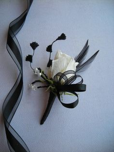 JACK Art Deco Black and White Boutonniere by DeborahLINKDesigns, $14.75