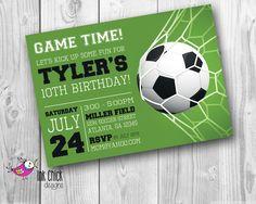 Soccer Birthday Invitation, Sports Invitation, Football Party, Printable, Digital File by InkChickDesigns on Etsy https://www.etsy.com/listing/236024987/soccer-birthday-invitation-sports