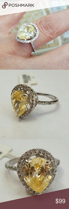 5ct stone 14k gold plated pear Engagement ring 6 Size 6 only for this price Jewelry Rings