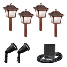Malibu 6 Light Outdoor Black And Tarnished Copper Colonial Kit 8300 9901 06 At The Home Depot