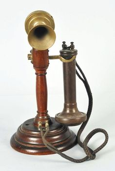 "Description Circa Faceplate reads ""Made in Sweden by ABLM Ericsson & Co. Antique Phone, Vintage Phones, Old Phone, Cool Inventions, Vintage Shabby Chic, Wood Turning, Candlesticks, Vintage Antiques, Gadgets"