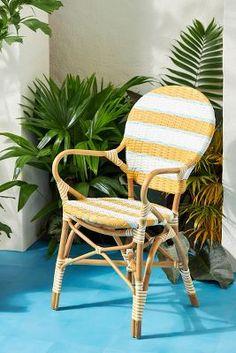 Belmar Striped Indoor/Outdoor Bistro Chair by Anthropologie in Orange Size: All, Outdoor
