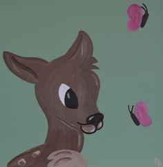 Kinderkamerkunst.Handgemaakt Kinderschilderij Vogel en Vlinder 30x30 cm. Achtergrondkleur: Licht olijf-groen. Doek: canvas. Prijs: 30 euro. Gemaakt door: www.byphilomena.nl