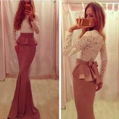 How nice Fashion Two Piece Back Bow Long Lace Dress ! I like it ! I want to get it ASAP!