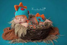 Newborn boy girl Dino dinosaur crochet handmade by TeenyTinyProps, $40.00