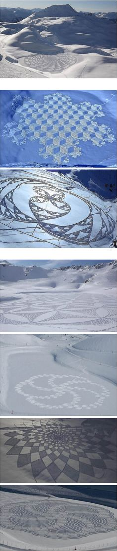 For the past decade, Simon Beck has been decorating the Alps with his stunning mathematical drawings, created by running in snowshoes across freshly laid snow. Each image takes him up to 11 hours to make and covers an area about 100m x 100m, requiring him to travel up to 25 miles as he marks out the pattern.