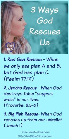 """3 Ways God Rescues Us. This devotion and """"Bite Sized"""" Bible study discuss overcoming discouragement with our life situation and realizing that God's methods are something non-conventional. Bible Study Plans, Bible Study Notebook, Scripture Study, Bible Verses Quotes, Bible Scriptures, Psalm 77, Bible Topics, Bible Love, Thing 1"""