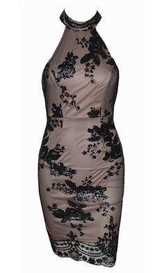 Rumors Of Romance Black Beige Sequin Lace Sleeveless Mock Neck Halter Backless Bodycon Mini Dress