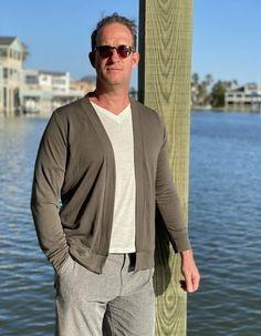 The Chapman Cardigan Sweater from Ellie & Mac is comfortable, stylish and definitely, a must-have in your wardrobe. - The Pattern Pages Sewing Mens Sewing Patterns, Ellie And Mac, Sweater Cardigan, Men Sweater, Sewing Magazines, Fitness Fashion, Blazer, Guys, Stylish