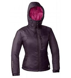 Eddie Bauer's First Ascent's Igniter Jacket--comes with stuff sack, compacts pretty well, great layer item under the Rainier Storm Shell Jacket, wind blocker, great for in between weather--always my go to jacket--hood has built in room for climbing helmets