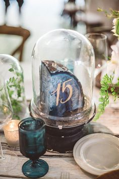 Brides: 6 Agate Wedding Ideas to Rock Your Ceremony and Reception Unique Centerpieces, Rustic Wedding Centerpieces, Wedding Table Numbers, Wedding Decorations, Centrepieces, Centerpiece Ideas, Wedding Tables, Wedding Receptions, Flower Centerpieces