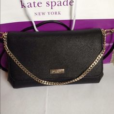 """NWT Kate Spade Newbury Lane Greer Black purse NWT Kate Spade Black Newbury Lane Greer. Can be worn three ways - shoulder with chain, crossbody or as a clutch. Made of Saffiano leather and light gold tone hardware. Flap top with magnetic closure, lined interior with zip pocket and one open pocket. 6.5x12x2 w/ 22"""" cross body adjustable strap and 6.25"""" chain drop. $180 kate spade Bags"""