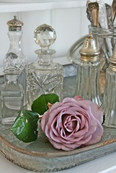 Beautiful perfume bottles and a touch of nature...how simple is that?