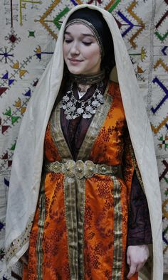 Close-up of a traditional festive costume (& the jewelry) from Dagestan, second half of 19th century.  (Source: Raisa Ismailova).
