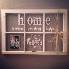 Trendy diy home decor shabby chic wall hangings old windows Ideas Source by Window Frame Crafts, Old Window Panes, Window Frame Decor, Old Window Projects, Window Wall, Old Window Ideas, Window Signs, Ideas With Old Windows, Window Pane Pictures