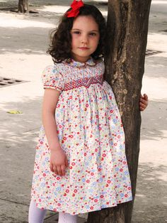 Girl Smocked Dress - Delphine - Click Image to Close