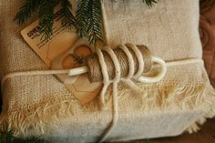 Burlap and twine, a masculine wrapping idea. From my Sweet ReTreats column in FOLK Magazine's Christmas Issue.