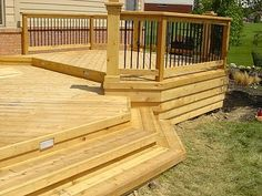 cedar wood great deck style for open backyard Outdoor Areas, Outdoor Rooms, Outdoor Living, Outdoor Decor, Deck Steps, Porch Steps, Patio Gazebo, Pergola, Backyard Paradise