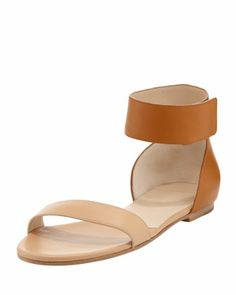 Two-Tone Ankle-Band Flat Sandal, Sand by Chloe at Bergdorf Goodman.