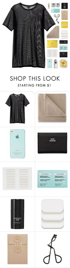 """""""- your love was handmade for somebody like me"""" by p-ureness ❤ liked on Polyvore featuring Monki, Martex, Acne Studios, Sephora Collection, Tom Ford, COVERGIRL, Topshop and Estée Lauder"""