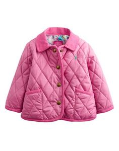 Joules Baby Girls Quilted Jacket, Wild Pink.