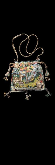 This exceptional sweet meat bag is similar in description to one given as a New Years gift to Queen Elizabeth I in ymbroidered all over with flowers, beasts birds, of Venis gold, silver, silke. Vintage Purses, Vintage Bags, Vintage Handbags, Vintage Outfits, Beaded Purses, Beaded Bags, Elisabeth I, Memento, Sweet Bags