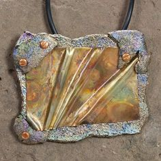 Necklace Pendant - Brooch Pin Mixed Media Copper Polymer Clay SKU24-2