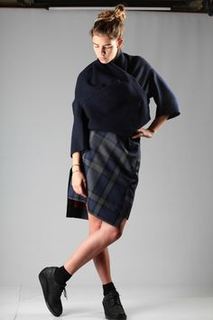 Oyuna kashmir sweater with Vivienne Westwood Red Label skirt A/W 2014-15