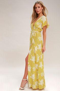 602f07d2f62f Heart of Marigold Yellow Floral Print Wrap Maxi Dress