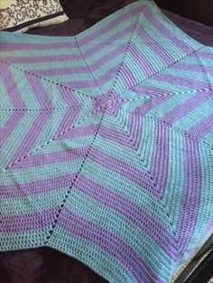 Star Blanket made by:  Bobbie Jean Clow.  Lavender & Blue.  Baby Blanket.  $60