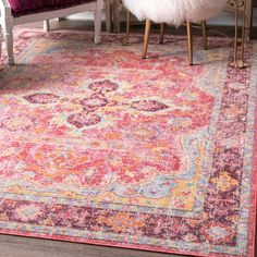 nuLoom Cardinal Multicolored Vintage Faded Medallion Area Rug (4'3 x 6'6)   Overstock.com Shopping - The Best Deals on 3x5 - 4x6 Rugs