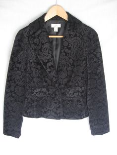 Womens Blazer Jacket ANN TAYLOR LOFT Size 6 M Black Velvet  $15 @New and Deja Vu Fashion #Bonanza store