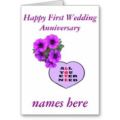 Purple Heart and flowers Anniversary add names, Greeting Card   zazzle.com/cardshere* zazzle.com/artistjandavies*