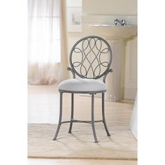 Omalley Vanity Stool in Metallic Grey | Nebraska Furniture Mart